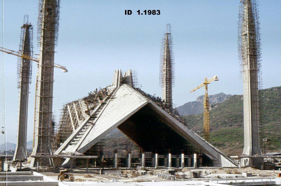 Shah Faisal Masjid in Islamabad Pakistan when it was under construction 1983-faisal-masjid-jpg